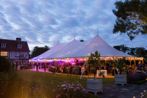 Sailcloth tent at night