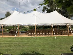Sailcloth tent with lovely swooping roof